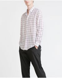 Zara | Purple Check Shirt for Men | Lyst