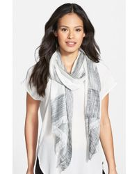 Eileen Fisher - White Ikat Print Silk & Organic Cotton Scarf - Lyst
