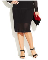 INC International Concepts - Black Plus Size Perforated Illusion Pencil Skirt - Lyst
