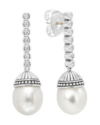 Lagos | Metallic 'luna' Diamond & Pearl Drop Earrings | Lyst