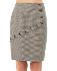 McQ - Gray Houndstooth Asymmetric Panel Skirt - Lyst