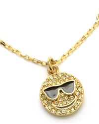 Juicy Couture | Metallic Pave Smiley Face Wish Necklace | Lyst