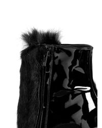 Robert Clergerie - Black 'bessin' Fur Front Patent Leather Ankle Boots - Lyst