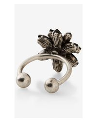 Express | Black Rhinestone Flower Open Shank Ring | Lyst