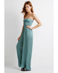 Forever 21 | Blue Smocked Wide-leg Jumpsuit | Lyst