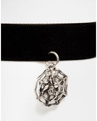 ASOS - Black Halloween Spider Web Charm Choker Necklace - Lyst
