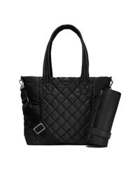 michael kors roberts large quilted nylon diaper bag in black lyst. Black Bedroom Furniture Sets. Home Design Ideas