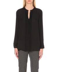 Etro | Black Pleated Silk Shirt | Lyst