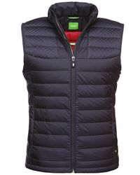 BOSS Green | Blue Quilted Waistcoat With Down Filling: 'vilar' for Men | Lyst