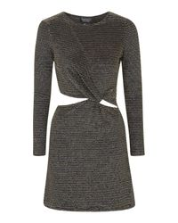 TOPSHOP | Knot Detail Metallic Dress | Lyst