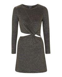 TOPSHOP - Knot Detail Metallic Dress - Lyst