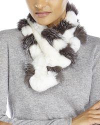 Belle Fare - White Real Rex Rabbit & Fox Fur Scarf - Lyst
