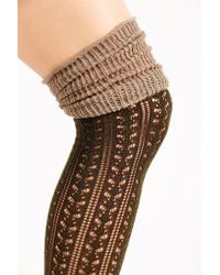 Urban Outfitters - Green Tonal Scrunch Over-the-knee Sock - Lyst