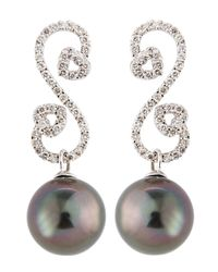 Belpearl | Gray Paveswirl Tahitian Pearl Earrings | Lyst
