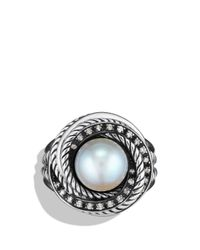 David Yurman | Metallic Pearl Crossover Ring With Diamonds | Lyst