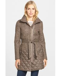 T Tahari - Gray 'salerno' Belted Front Zip Quilted Coat - Lyst
