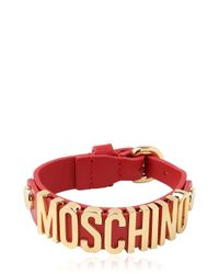 Moschino | Red Grained Leather Bracelet for Men | Lyst