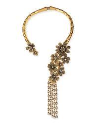 Oscar de la Renta | Multicolor Metallic Floral Collar Necklace | Lyst