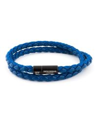 Tateossian - Chelsea Bracelet In Blue Ecologic Leather With Black Clasp for Men - Lyst