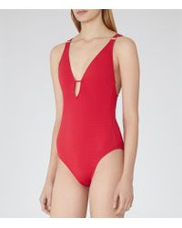 Reiss | Red Harlot Plunge-front Swimsuit | Lyst