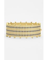 Freida Rothman | Metallic 'metropolitan' Tuxedo Stripe Hinged Bangle | Lyst