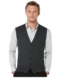 Perry Ellis | Gray Solid Textured Sweater Vest for Men | Lyst