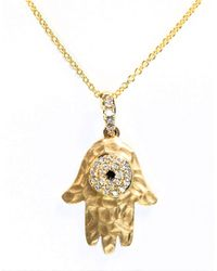 Effy | Metallic Royale Bleu 14k Yellow Gold Necklace With Diamond Hamsa Pendant | Lyst