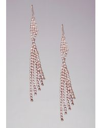 Bebe | Metallic Crystal Fringe Earrings | Lyst