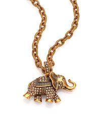 Oscar de la Renta | Metallic Pavé Crystal Elephant Pendant Necklace | Lyst