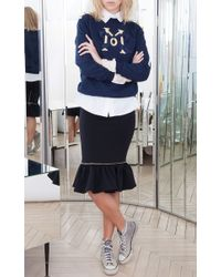 Alexis Mabille - Blue Navy Embroidered Epaulette Sweatshirt - Lyst