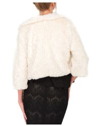 Jane Norman | White Crop Sleeve Faux Fur Shrug | Lyst