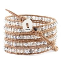 Chan Luu - Brown Grey Pearl Mix And Cloudy Quartz Wrap Bracelet On Beige Leather - Lyst