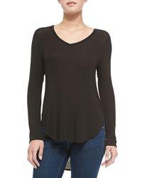 Splendid - Black Long-Sleeve Draped Luxe Top - Lyst