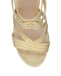 Guess | Metallic Harlee Embossed Platform Wedge Sandals | Lyst