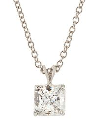 Fantasia by Deserio | White Princess-cut Cz Pendant Necklace | Lyst