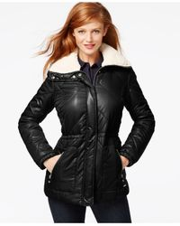 Kenneth Cole | Black Faux-fur Sherpa-lined Parka Jacket | Lyst
