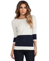 Autumn Cashmere | Blue Color Block Striped Back Boat Neck Sweater in Navy | Lyst