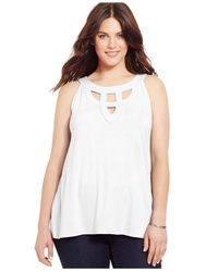 INC International Concepts | White Plus Size Cutout Halter Top | Lyst