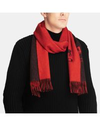 COACH | Red Cashmere Bicolor Scarf for Men | Lyst