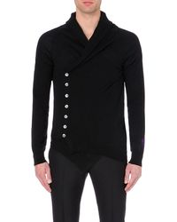 Alexander McQueen | Black Shawl-neck Asymmetric Cashmere Cardigan for Men | Lyst