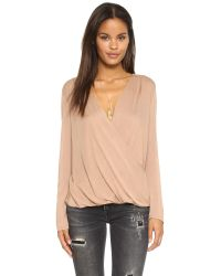Lanston - Natural Surplice Long Sleeve Top - Lyst