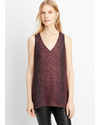 Vince - Brown Silk Sleeveless Leopard Print V-neck Blouse - Lyst