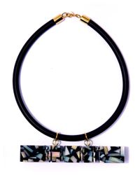 Lily Kamper | Black Feriss Square Shell Necklace | Lyst