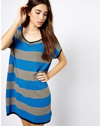 Shae | Blue Easy Dolman Knitted Tshirt Dress | Lyst