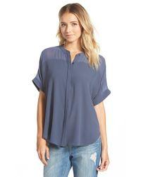 Lush | Blue Band Collar Woven Shirt | Lyst