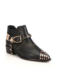 Ivy Kirzhner - Black Sante Fe Leather Cap-toe Ankle Boots - Lyst