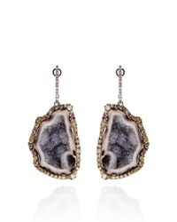 Kimberly Mcdonald | Purple One Of A Kind Geode and Natural Color Diamond Lever Back Earrings | Lyst