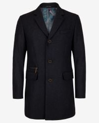 Ted Baker - Gray Textured Wool Overcoat for Men - Lyst