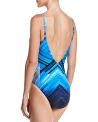 Gottex - Blue Multi-print V-neck One-piece Swimsuit - Lyst