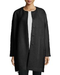 Eileen Fisher | Black Fisher Project Alpaca-blend Cocoon Coat | Lyst